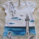 maglietta dipinta a mano faro mare