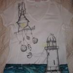 maglietta dipinta a mano mare